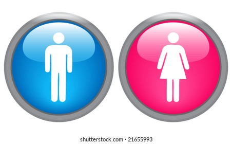 male and female glossy icons - vector image