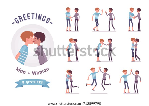 Male Female Greeting Readytouse Character Set Stock Vector