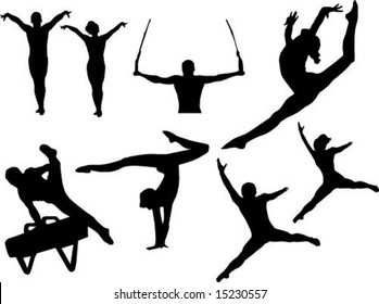 male and female gymnastics vector Olympics gymnasts silhouettes