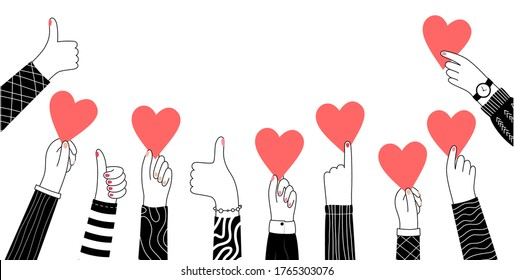 Male or female hand hold a heart or like sign. The concept of volunteering or love. Flat vector cartoon illustration. Donations or voting poster or banner.