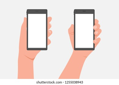 Male and female hand holding mobile phone. Vector cartoon flat illustration isolated on a white background.