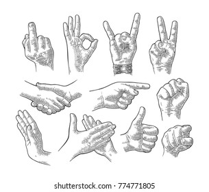 Male and female hand sign set. Fist, Like, Handshake, Ok, Stop, Middle finger up, Pointing, Applause, Fig, Rock Roll gesture. Vector vintage engraved illustration isolated white background