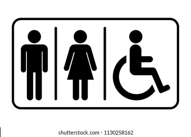 Male / Female / Handicap toilet sign, vector illustration