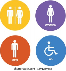 Male Female Handicap toilet sign, vector illustration