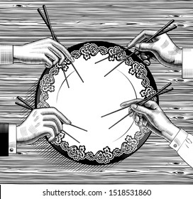 Male and female hands with chopsticks of japan restaurant. Cuisine with seafood. Asian cuisine. Vintage engraving stylized drawing. Vector illustration