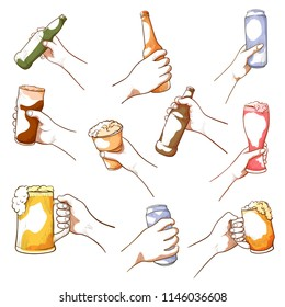 Male and female hands holding beer. Alcoholic beverage drinkers grasp, carry bottles, cans, raise glasses to drink together. Vector hand drawn illustration