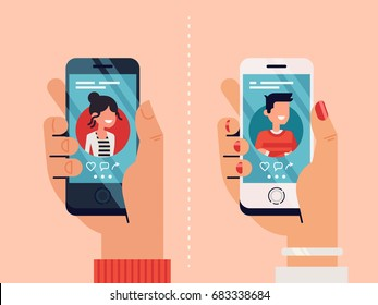 Male and female hands holding mobile phones with abstract dating app profile on display. Cool vector concept on online dating application, flat design
