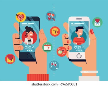 Male and female hands holding mobile phones with abstract dating app profiles and icons. Cool vector concept on online dating application, flat design