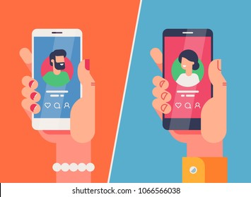 Male and female hands holding smartphones with dating application profile on display. Online dating app concept. Flat vector illustration.