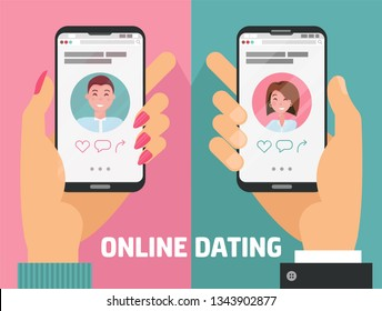 Male and female hands with phones with online dating app. Man, woman holding smartphones with dating app profile on display. Cool concept of online dating application. Flat cartoon vector illustration