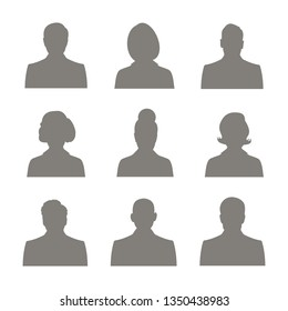 Male and female head silhouettes avatar, profile icons. business profile avatar, black color, isolated on white background