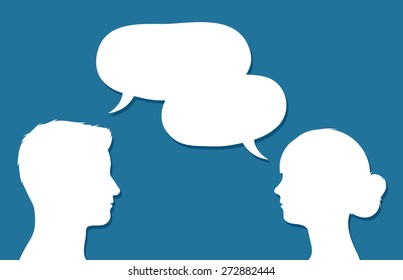 Male and female heads in conversation facing each other with overlapping speech bubbles with copy space conceptual of communication, discussion, teamwork, chatting or forums, vector design