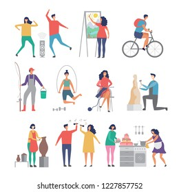 Male and female hobbies. People working love gardening cooking painting hobby occupation vector characters