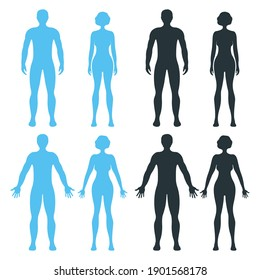 Male and female human character, people man woman front and view side body silhouette, isolated on white, flat vector illustration. Black and blue mannequin people scale concept.