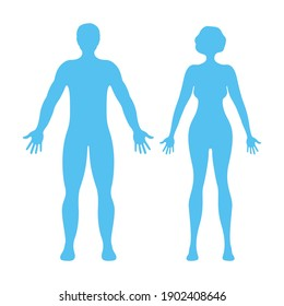 Male and female human character, people man woman front and view side body silhouette, isolated on white, flat vector illustration. Blue mannequin people scale concept.