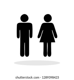 Male / Female icon in flat style. Restroom symbol for your web site design, logo, app, UI Vector EPS 10.