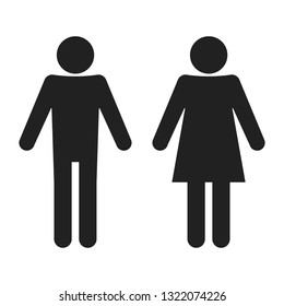 Male / Female icon in flat style. Restroom symbol for your web site design, logo, app, UI Vector EPS 10. Simple icon. Cool pictogram. Boy and girl. Symbol for toilet.