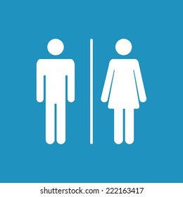 Male and female  icon on  blue  denoting toilet and restroom facilities for both men and women