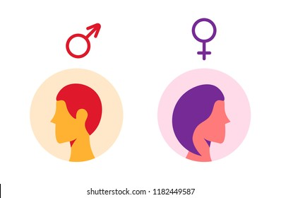 Male and female icon set. Man and woman user avatar. Flat design style.
