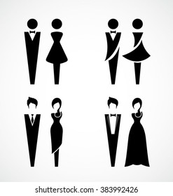 Male and female icon set-Vector Illustration