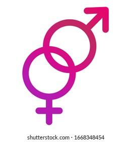 Male and female icon, symbol set. Website design vector illustration isolated on white background