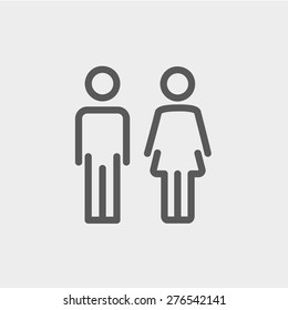 Male and female icon thin line for web and mobile, modern minimalistic flat design. Vector dark grey icon on light grey background.