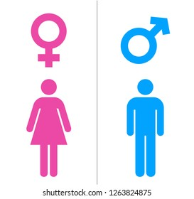 Male and Female Icons With Blue And Pink Color. Gender Symbol Vector Illustration.