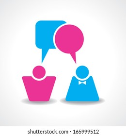 Male and female icons with dialog speech bubbles stock vector