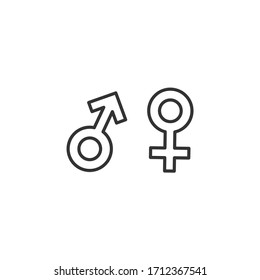 Male and female line icons. Simple outline style design. Vector illustration.