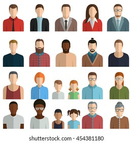 male and female, man, woman. face avatars. flat style vector icon set