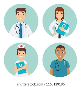 Male and female medical staff, doctors and nurses in the hospital