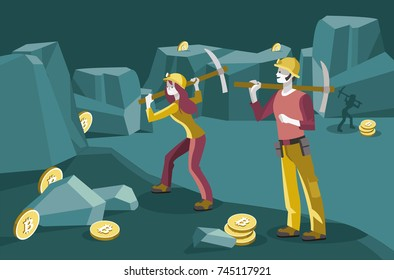 male and female miners working in a mine to obtain the virtual coins bit-coin