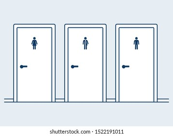 Male, female and mixed restrooms, simple and modern cartoon vector illustration. Man, Woman and Unisex symbols on bathroom doors.