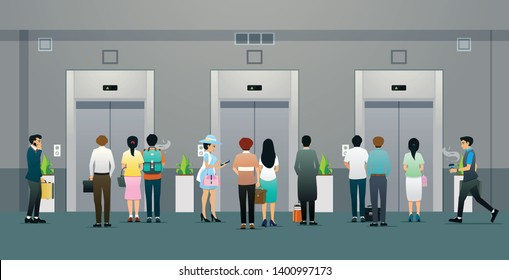 Male and female office workers are waiting for the elevator.