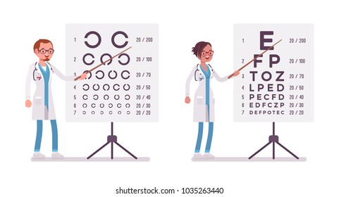 Male and female ophthalmology doctor. People in hospital uniform standing near eye test chart. Medicine and healthcare concept. Vector flat style cartoon illustration isolated on white background