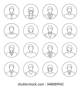 Male and female outline faces avatars. Line art style vector icons set