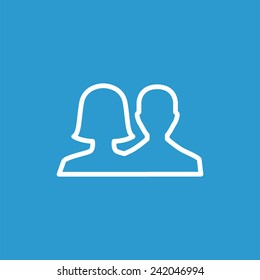male female outline icon, isolated, white on the blue background. Exclusive Symbols