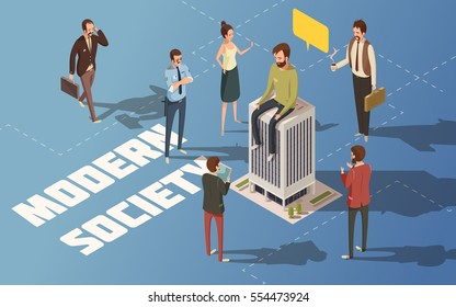 Male and female people modern urban society isometric vector illustration