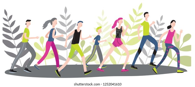 Male and female people running marathon together, making traning, daily sport concept