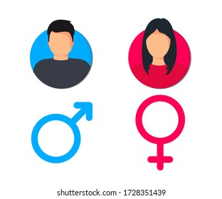 Male and female pictogram for web site design and mobile apps. Man and woman user profile. Gentleman and lady toilet sign. Gender icons