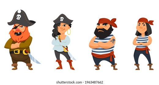 Male and female pirates with crossed arms. Funny characters in cartoon style.