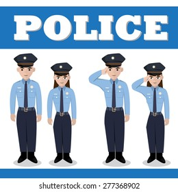 Male and Female Police in action upstanding and saluting  , Vector object