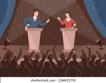 Male and female politicians taking part in political debates in front of audience. Pair of government workers talking to each other or having dispute. Colorful vector illustration in cartoon style.