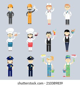Male and female professional character vector set with doctor and nurse  cook and chef  waiter and waitress  police sergeants  interior decorators and construction workers