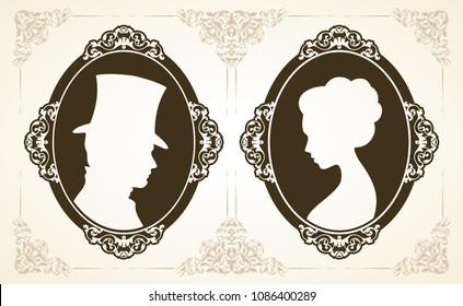 Male and female profile in classic Victorian style. Set of vector silhouettes of lady and gentleman in ornamental frames on vintage patterned background