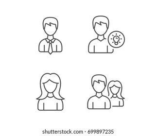 Male and Female, Profile and Couple line icons. Group and Idea signs. Quality design elements. Editable stroke. Vector