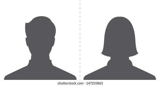 male and female profile picture, silhouette profile avatar