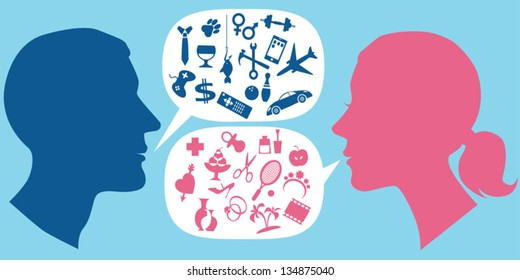 Male and female profiles with speech bubbles filled with assorted symbols of men and women interests