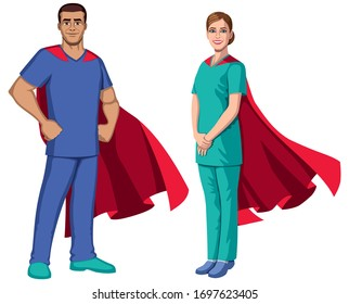 Male and female registered nurses or health care workers with superhero capes, on white background.