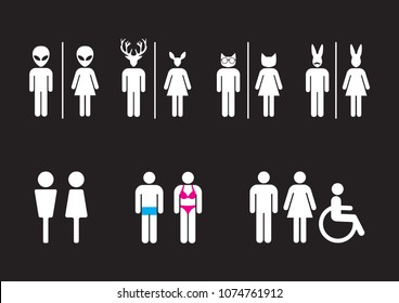 Male and Female Restroom Symbol Icon,toilet sign